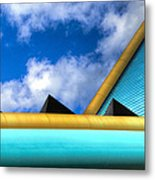 Turquoise And Gold Metal Print