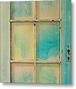 Turquoise And Pale Yellow Panel Door Metal Print