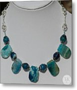 Turquoise And Sapphire Agate Necklace 3674 Metal Print