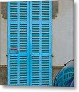 Turquoise Door Metal Print