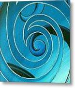 Turquoise Glass Koru Metal Print