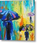 Turquoise Rain Metal Print