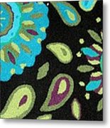 Tapestry Turquoise Rug Metal Print