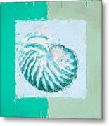 Turquoise Seashells Xii Metal Print by Lourry Legarde