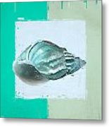 Turquoise Seashells Xiv Metal Print by Lourry Legarde