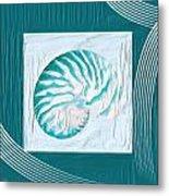 Turquoise Seashells Xxi Metal Print