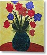 Turquoise Vase On Yellow Metal Print
