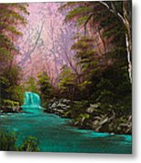 Turquoise Waterfall Metal Print by C Steele