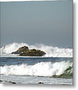 Turquoise Waves Monterey Bay Coastline Metal Print