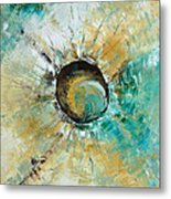 turquoise white earth tones modern abstract MIRACLE PLANET by Chakramoon Metal Print