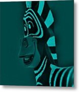 Turquoise Zebra Metal Print