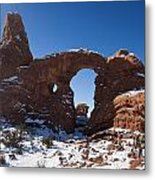 Turret Arch With Snow Arches National Park Utah Metal Print