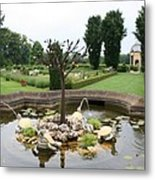 Turtle Fountian And Garden Chateau De Cormatin Metal Print