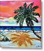Turtle On Beach Metal Print