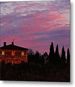 Tuscan Farmhouse And Morning Glow Metal Print