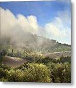 Tuscan Field In Fog Metal Print