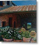 Tuscan Flower Pots Metal Print