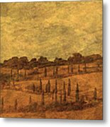 Landscape And Winding Road With Cypress Trees Metal Print