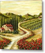 Tuscan Road With Poppies Metal Print