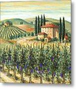 Tuscan Vineyard And Villa Metal Print