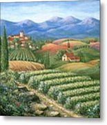 Tuscan Vineyard And Village  Metal Print by Marilyn Dunlap