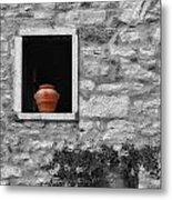 Tuscan Window And Pot Bw And Color Metal Print
