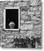 Tuscan Window And Pot Metal Print