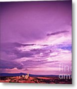 Tuscania Village With Approaching Storm  Italy Metal Print