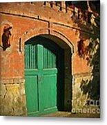 Tuscany Door With Horse Head Carvings Metal Print
