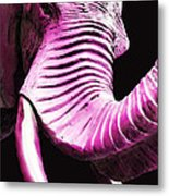 Tusk 2 - Pink Elephant Art Metal Print