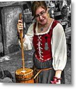 Tutor Milkmaid Churning Butter  V2 Metal Print