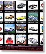 Twenty Corvettes Metal Print
