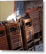 Twenty-five Folded Chairs Metal Print