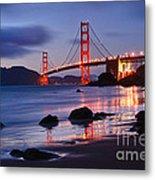 Twilight - Beautiful Sunset View Of The Golden Gate Bridge From Marshalls Beach. Metal Print