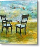 Twilight - Chairs Metal Print by Deborah Allison