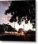 Twilight In Santos Beach Park Metal Print
