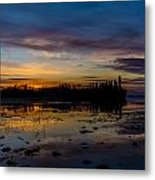 Twilight Silhouette At Candle Lake Metal Print