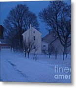 Twilight Snow On Bauman Road Metal Print by Anna Lisa Yoder