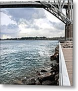 Twin Bridges Over Blue Water Metal Print