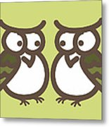 Twin Owl Babies- Nursery Wall Art Metal Print by Nursery Art