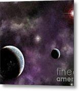 Twin Planets With Nebula Metal Print