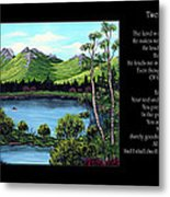 Twin Ponds And 23 Psalm On Black Horizontal Metal Print