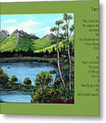 Twin Ponds And 23 Psalm On Green Horizontal Metal Print