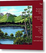 Twin Ponds And 23 Psalm On Red Horizontal  Metal Print