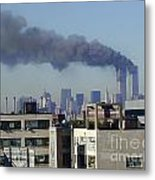 Twin Towers Burning Metal Print