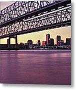 Twins Bridge Over A River, Crescent Metal Print