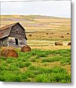 Twisted Barn On Canadian Prairie, Big Metal Print