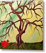 Twisted Tree And Roses Metal Print