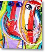 Two Abstract Faces Metal Print