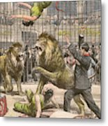 Two Acrobats Fall Into The  Lions' Metal Print